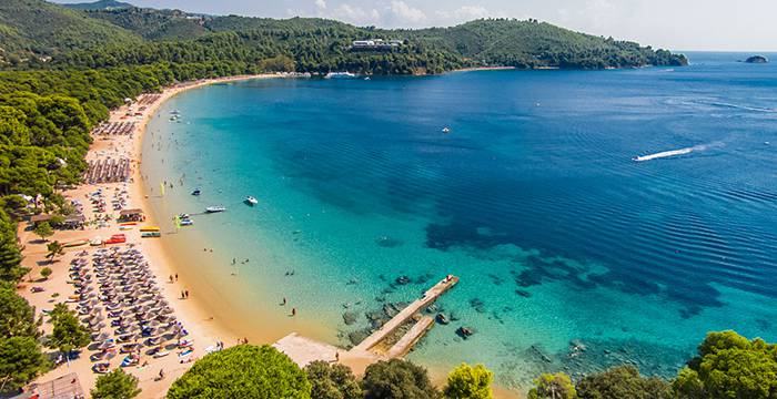 Koukounaries Beach in Skiathos Island